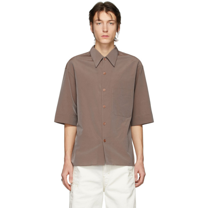 Lemaire Chemise a manches courtes taupe Convertible Collar