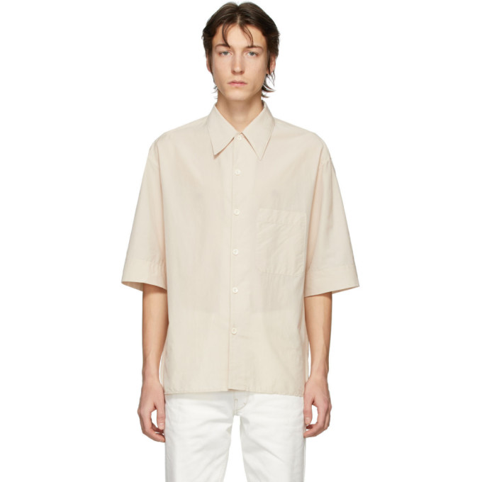 Lemaire Chemise a manches courtes beige Convertible Collar