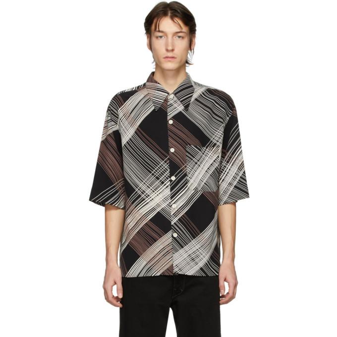 Lemaire Chemise a manches courtes noire Convertible Collar