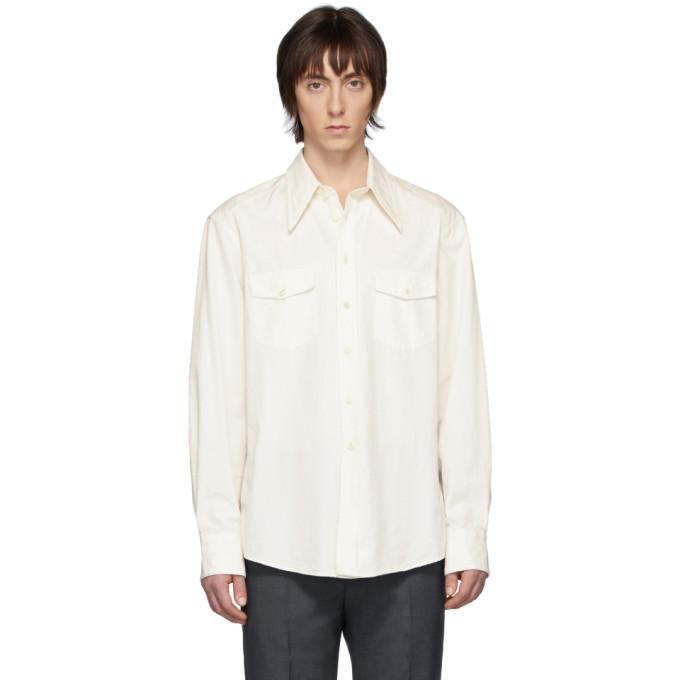 Lemaire Chemise western blanc casse