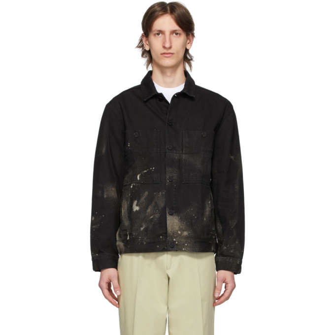 SSENSE Exclusive Black Denim Bleached Corner Jacket