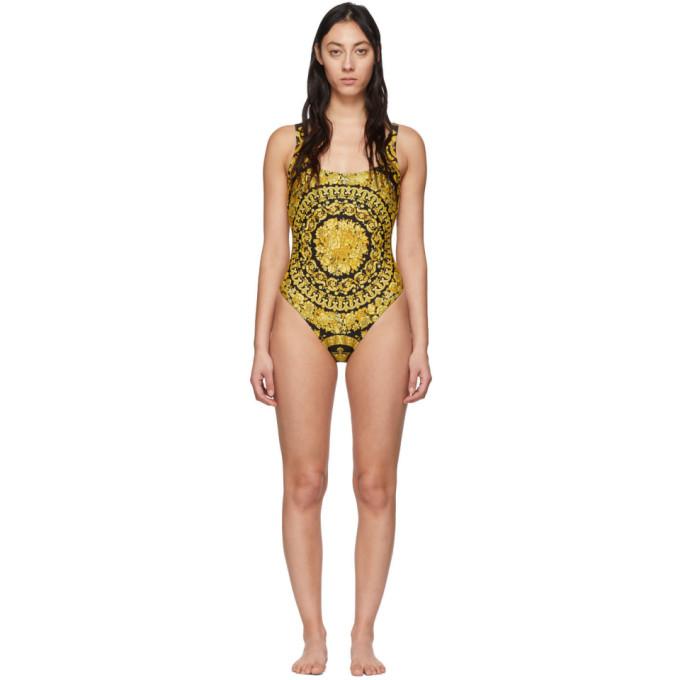 Versace Underwear Maillot de bain une piece noir et jaune Barocco