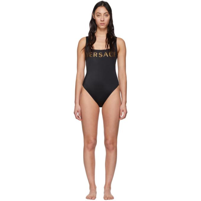 Versace Underwear Maillot de bain une piece a logo noir