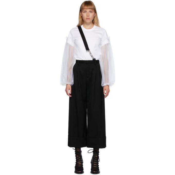 Noir Kei Ninomiya Pantalon en laine a bretelle unique noir