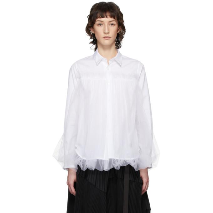 Noir Kei Ninomiya Chemise a empiecement superpose en tulle blanche