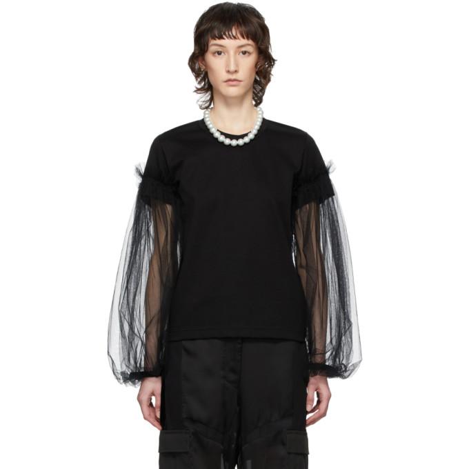 Noir Kei Ninomiya T-shirt a manches longues orne de tulle noir