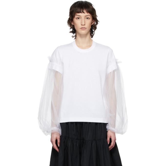 Noir Kei Ninomiya T-shirt a manches longues orne de tulle blanc