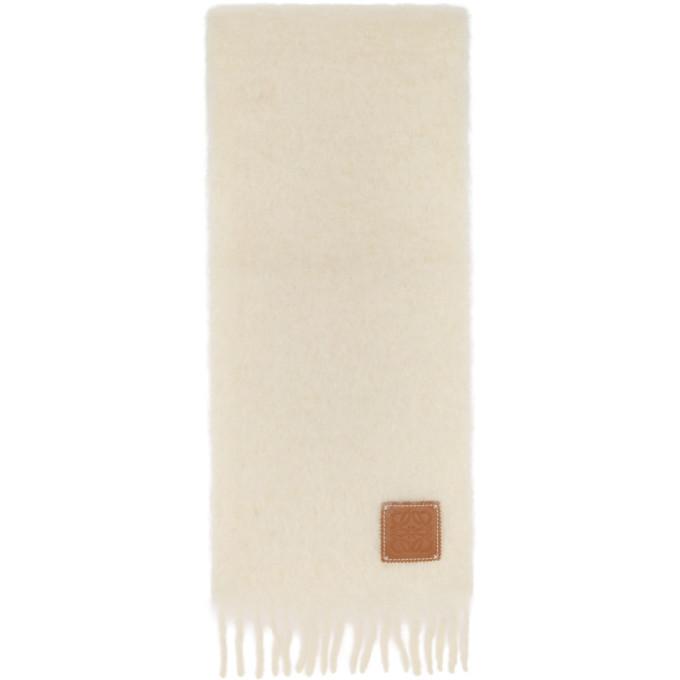 Loewe Foulard en mohair blanc casse
