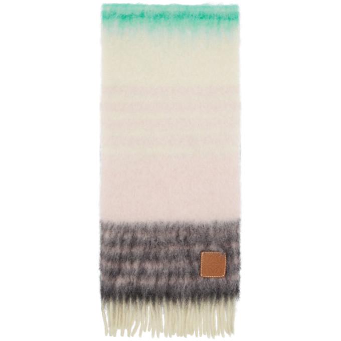 Loewe Foulard en mohair raye multicolore
