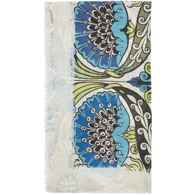 Loewe Foulard en modal bleu et vert Flowers Anagram William De Morgan
