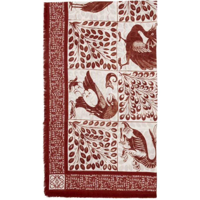 Loewe Foulard en modal rouge et blanc Animal Anagram William De Morgan