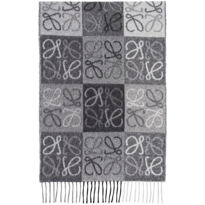 Loewe Foulard en cachemire noir et blanc Anagram