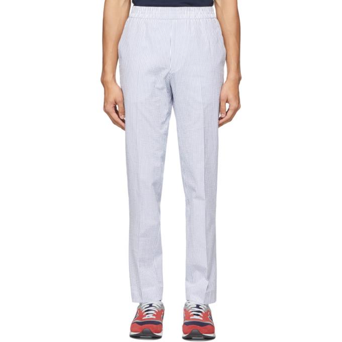 Harmony Pantalon en crepon raye bleu Paolo