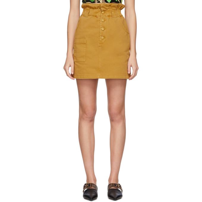 Fendi 黄褐色纽扣牛仔短裙