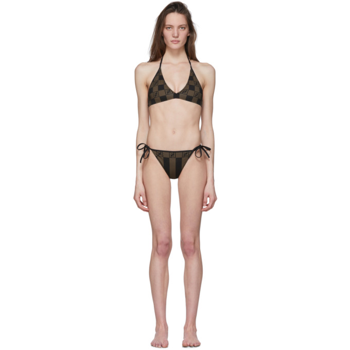 Fendi Bikini raye brun Forever Fendi