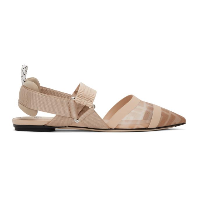 Buy Fendi Beige Colibri Slingback Ballerina Flats online