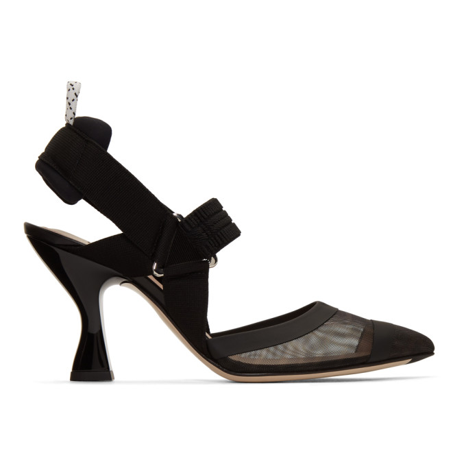 Buy Fendi Black Colibri 85 Slingback Heels online