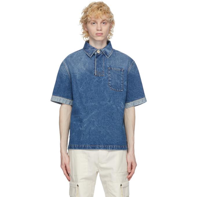 Fendi ブルー デニム ライト ウォッシュ ポロシャツ