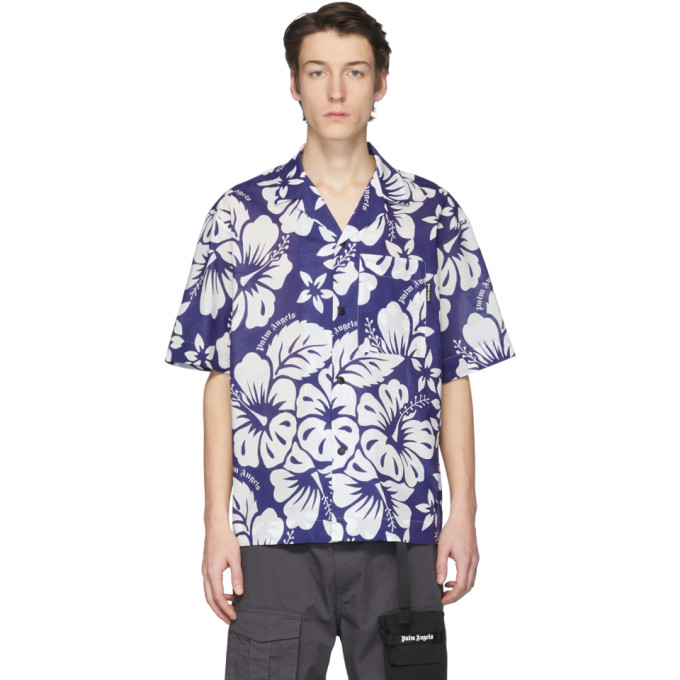 Palm Angels Chemise de bowling hawaienne bleue et blanche
