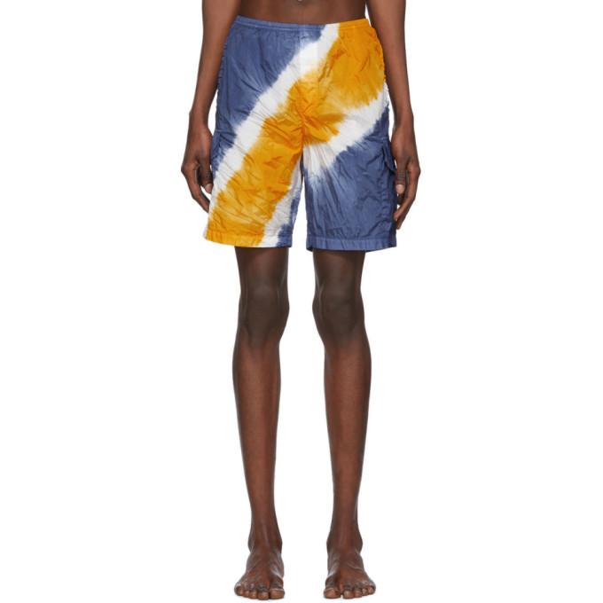 Palm Angels Maillot de bain a motif tie-dye bleu et orange