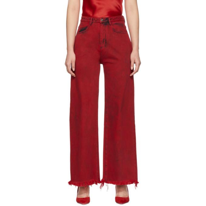Marques' Almeida Jeans MARQUES ALMEIDA RED BOYFRIEND JEANS