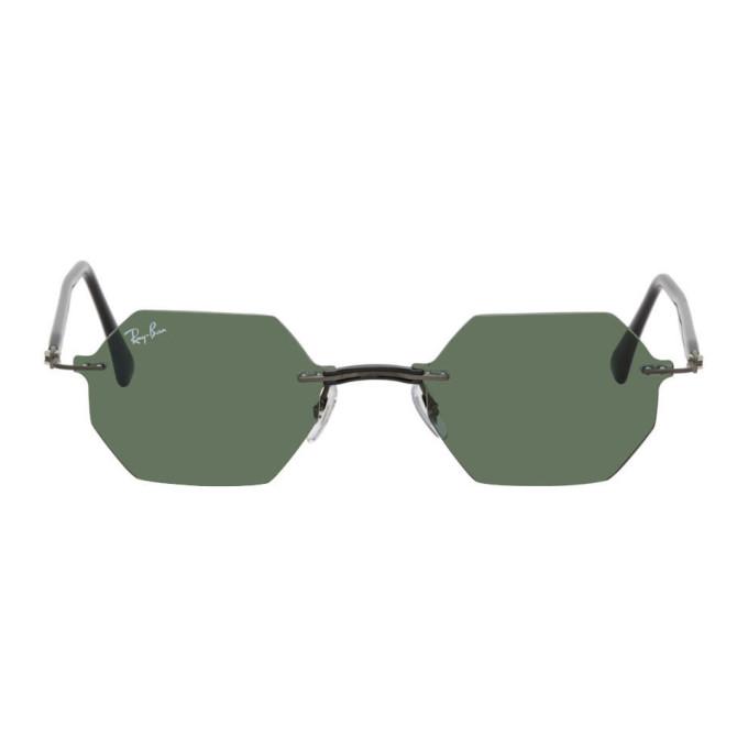 Ray-Ban Gunmetal and Green Hexagon Rimless Sunglasses