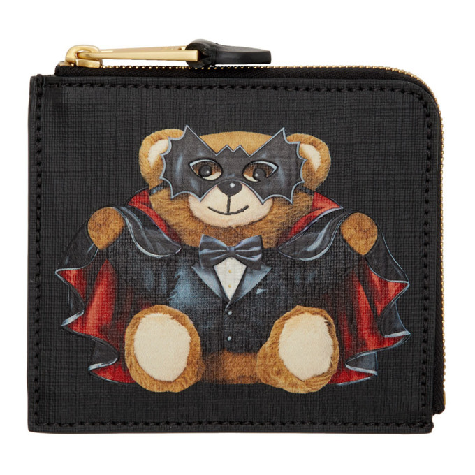 Moschino Black Magician Teddy Bear Zip Wallet