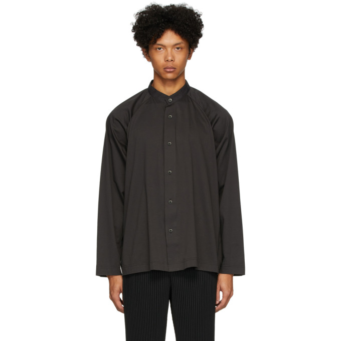 Homme Plisse Issey Miyake Chemise a manches longues en jersey noire