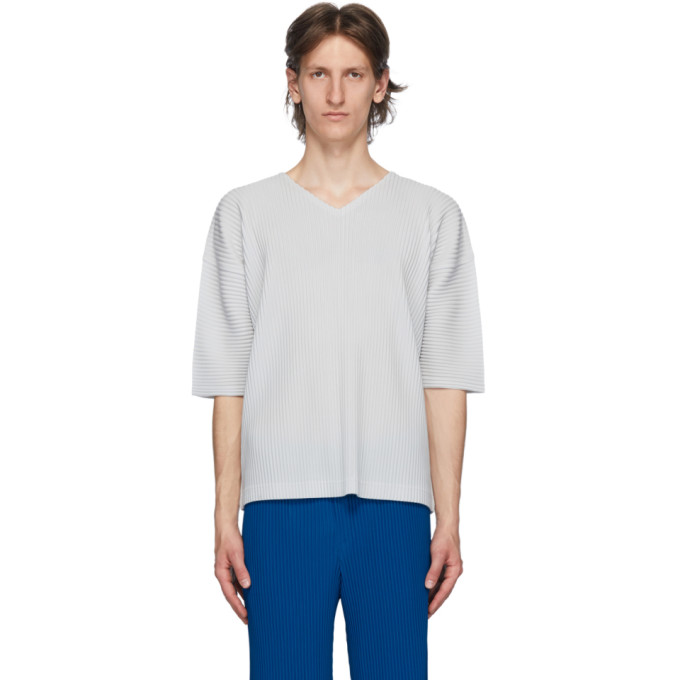 Homme Plisse Issey Miyake T-shirt a col en V gris MC April