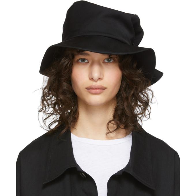 Ys Chapeau en gabardine de laine a ceinture noir