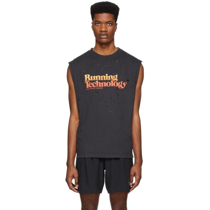 Satisfy T-shirt sans manches noir Moth Eaten Running Technology