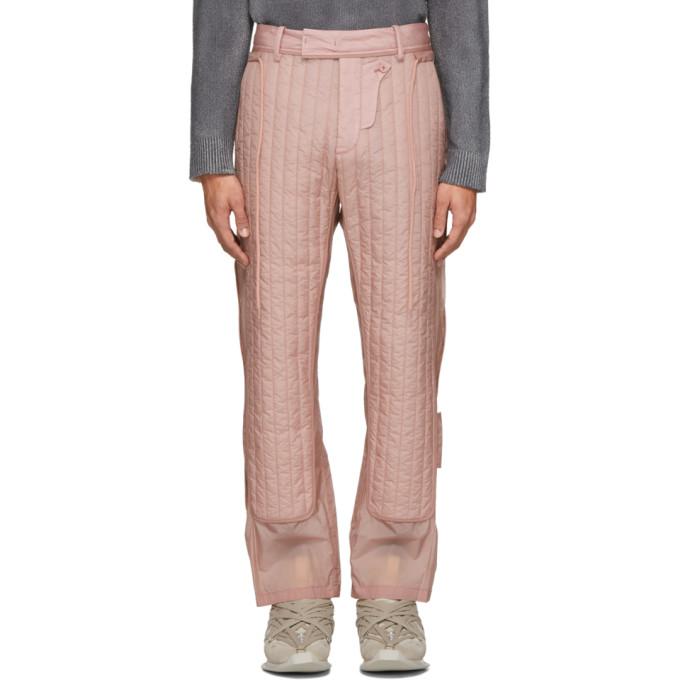 Craig Green Pantalon matelasse rose Skin
