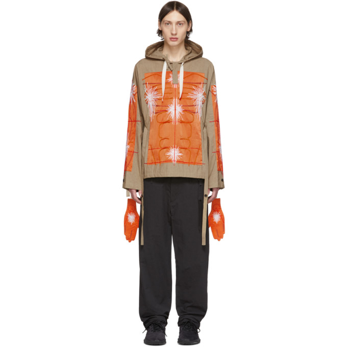 SSENSE Exclusive Khaki and Orange Cagoule Embroidered Hoodie