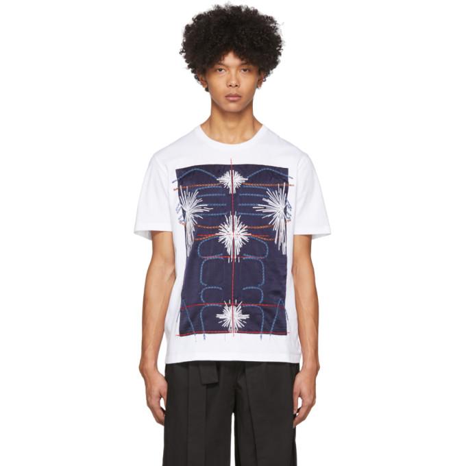 Craig Green T-shirt blanc et bleu marine Embroidered Body