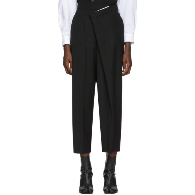 Enfold Pantalon en laine noir Overlap