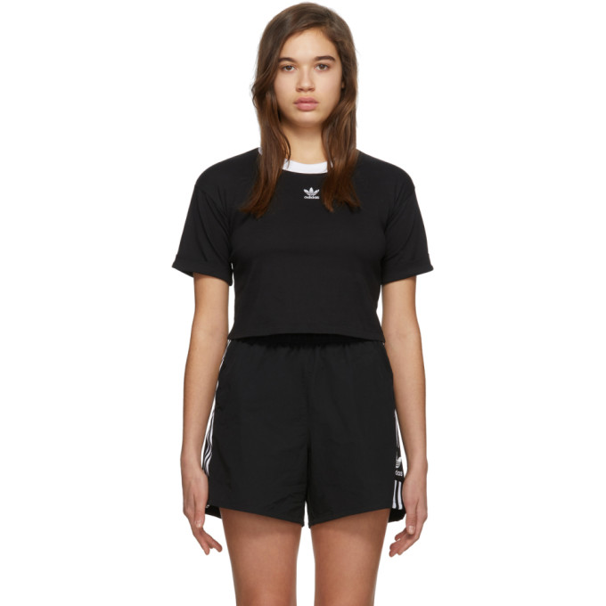 Adidas Originals ADIDAS ORIGINALS BLACK LOGO CROP TOP