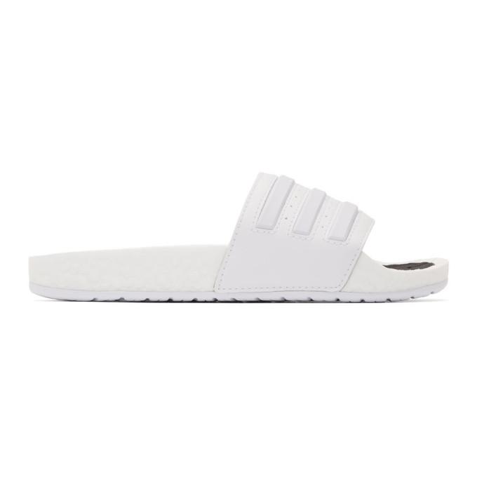 Buy adidas Originals White Adilette Boost Sandals online