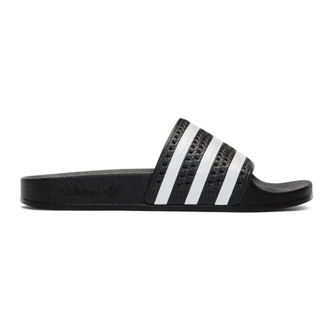 Buy adidas Originals Black and White Adilette Slides online
