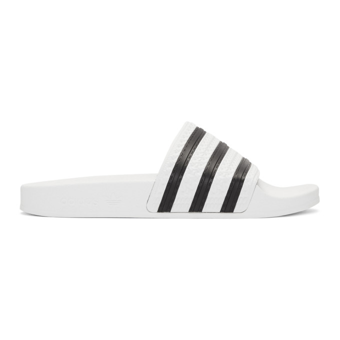 Buy adidas Originals White and Black Adilette Slides online