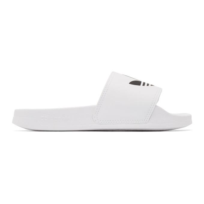 Buy adidas Originals White Adilette Lite Slides online