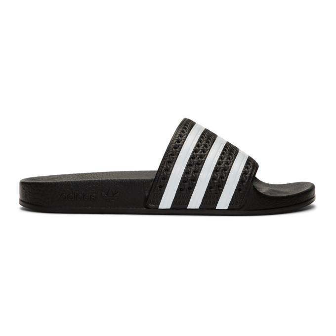 Adidas Originals Sandals ADIDAS ORIGINALS BLACK AND WHITE ADILETTE SLIDES
