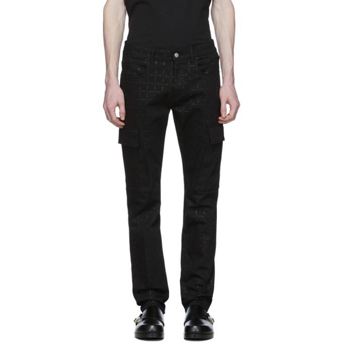 1017 ALYX 9SM ブラック デニム ロゴ カーゴ パンツ