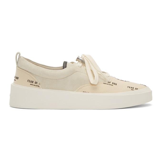 Fear Of God 101 Leather-trimmed Suede And Logo-print Canvas Sneakers In Bone & Cream  Print