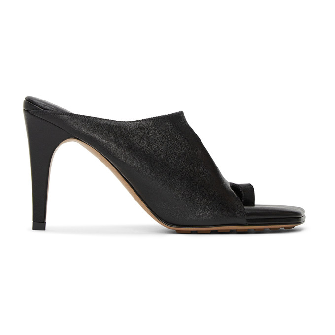 Bottega Veneta Open Toe Ring Leather Mules In 1000 Black