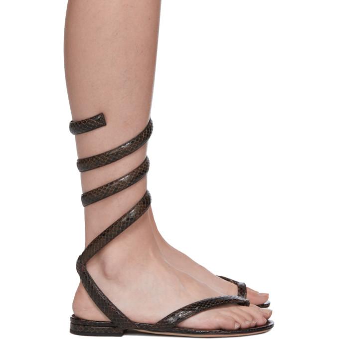 Buy Bottega Veneta Brown Python Spiral Sandals online