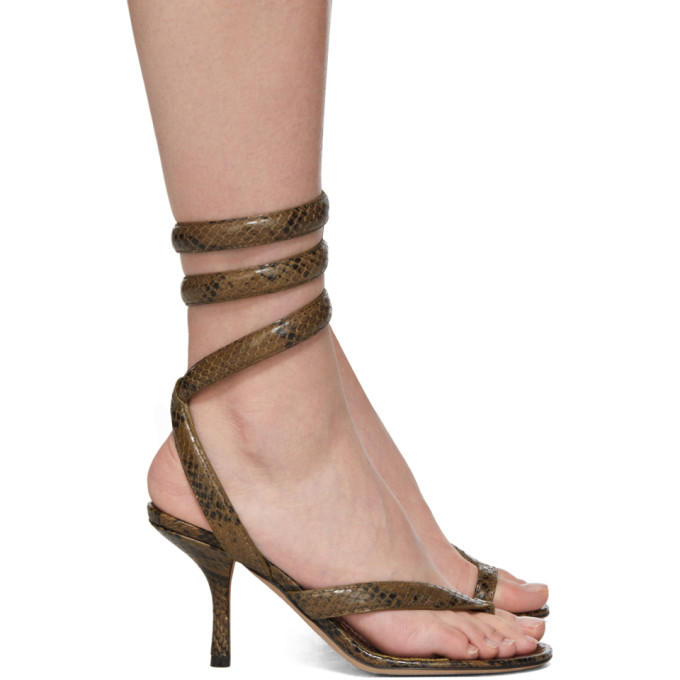 Buy Bottega Veneta Khaki Python Heeled Sandals online