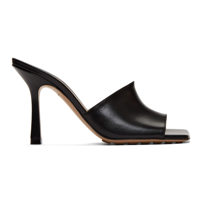 Bottega Veneta Stretch Square-toe Leather Mules In Black