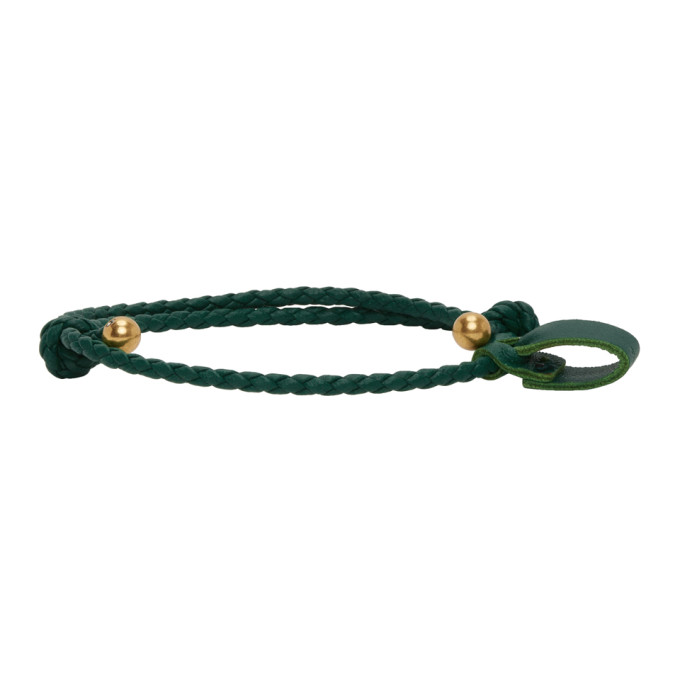 SSENSE Exclusive Green and Gold Intrecciato Bracelet