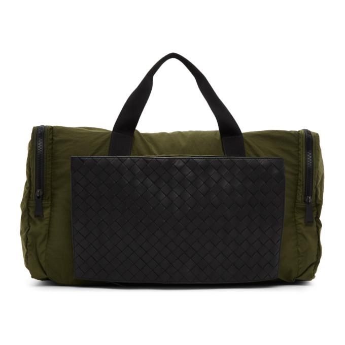 Bottega Veneta Green Intrecciato Packable Duffle Bag In 3250 Kakine