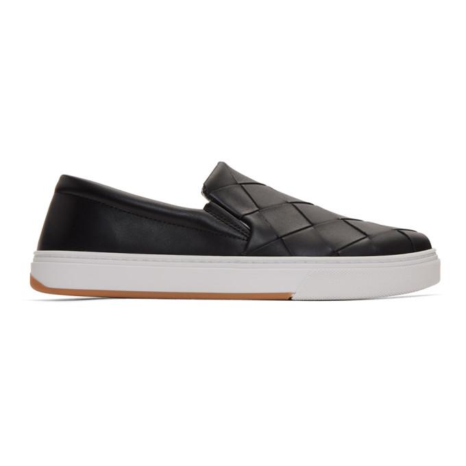 Bottega Veneta Dodger Intrecciato Leather Slip-on Sneakers In 1000 Black